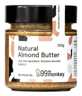 99th MONKEY NATURAL ALMOND BUTTER 200g (NEW REDUCED PRICING)