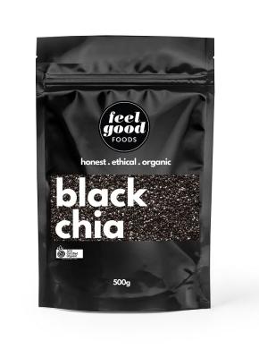FEEL GOOD FOODS ORGANIC BLACK CHIA SEEDS 500g