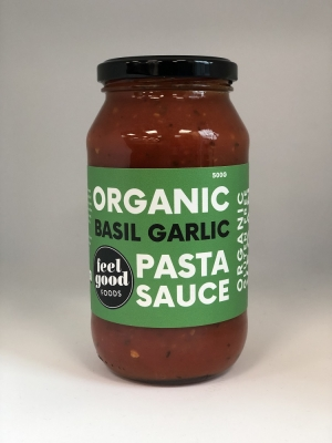 FEEL GOOD FOODS PASTA SAUCE - BASIL & GARLIC 500g
