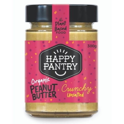HAPPY PANTRY - UNSALTED ORGANIC PEANUT BUTTER CRUNCHY 300g