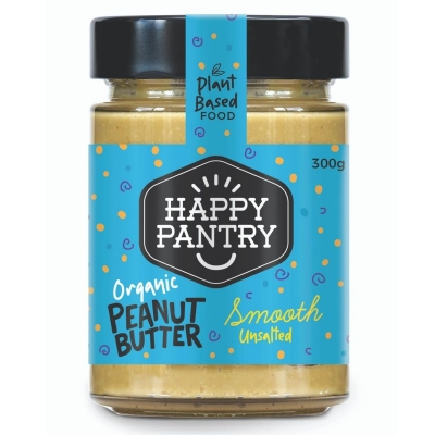 HAPPY PANTRY - UNSALTED ORGANIC PEANUT BUTTER SMOOTH 300g