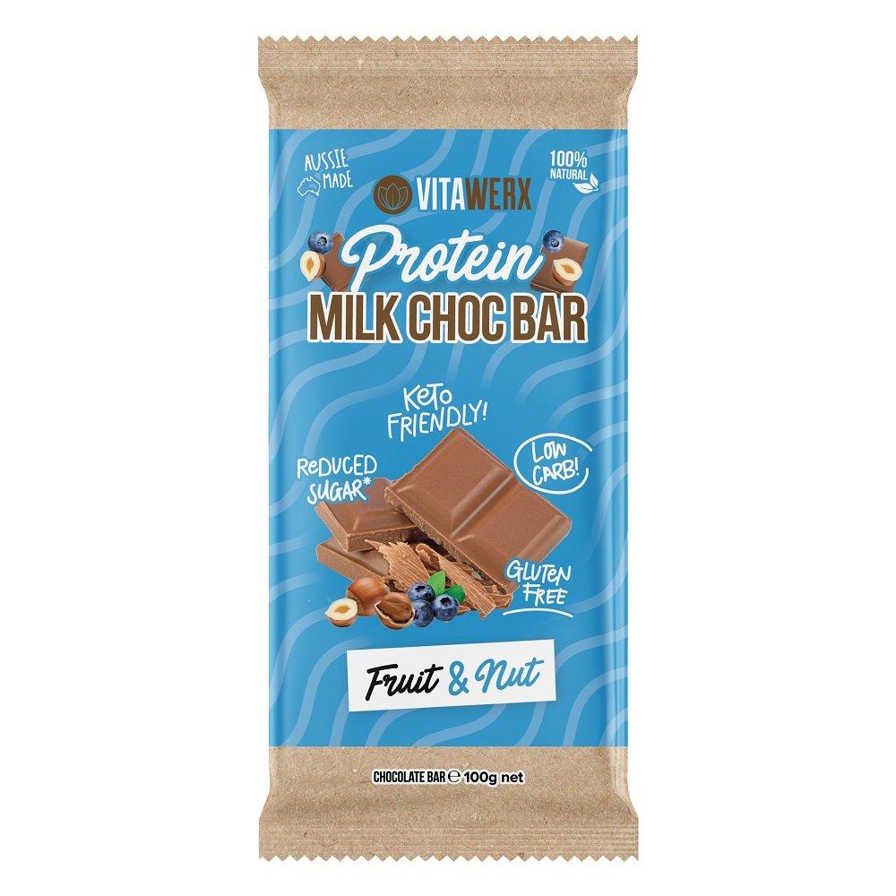 VITAWERX MILK CHOC FRUIT & NUT BAR 100g