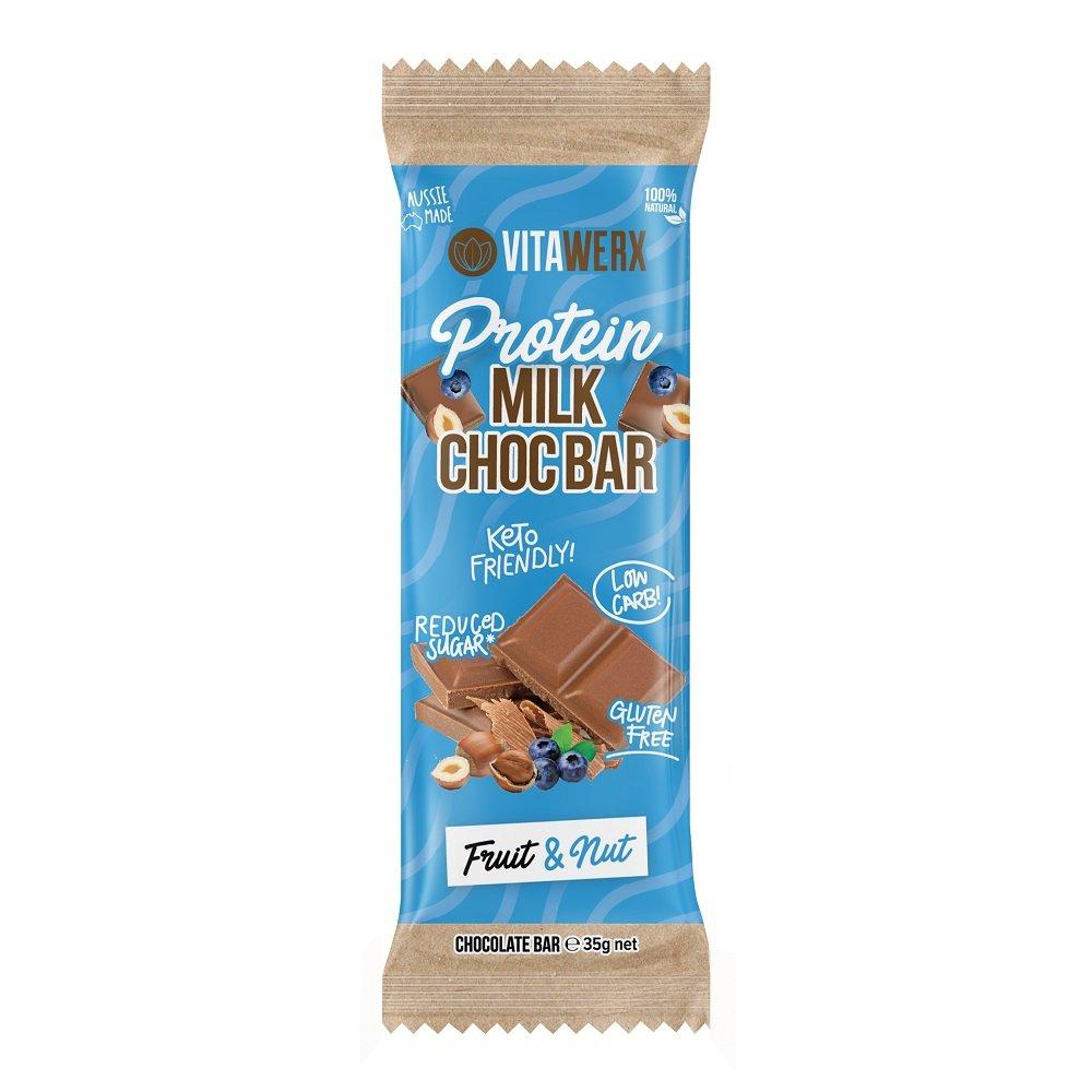 VITAWERX MILK CHOC FRUIT & NUT BAR 35g